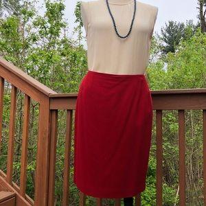 Emanuel Ungaro vintage red wool pencil skirt sz 14